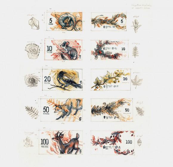Planche de croquis pour les billets en euros