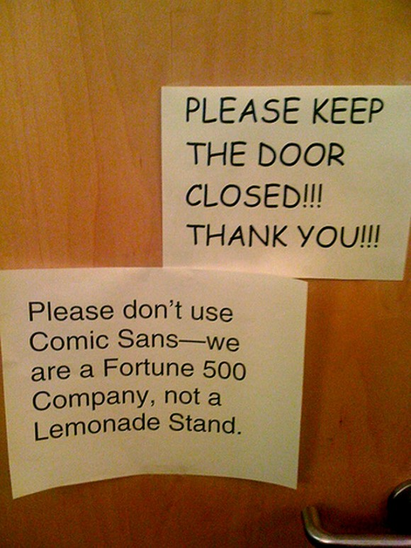 Merci de ne pas utiliser Comic Sans
